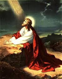 Jesus in garden with glory